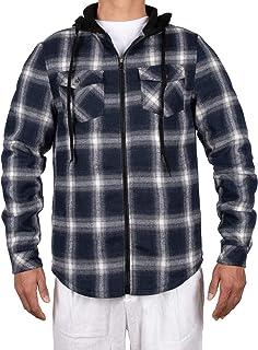 ZENTHACE Men`s Sherpa Lined Full Zip Hooded Plaid Shirt Jacket
