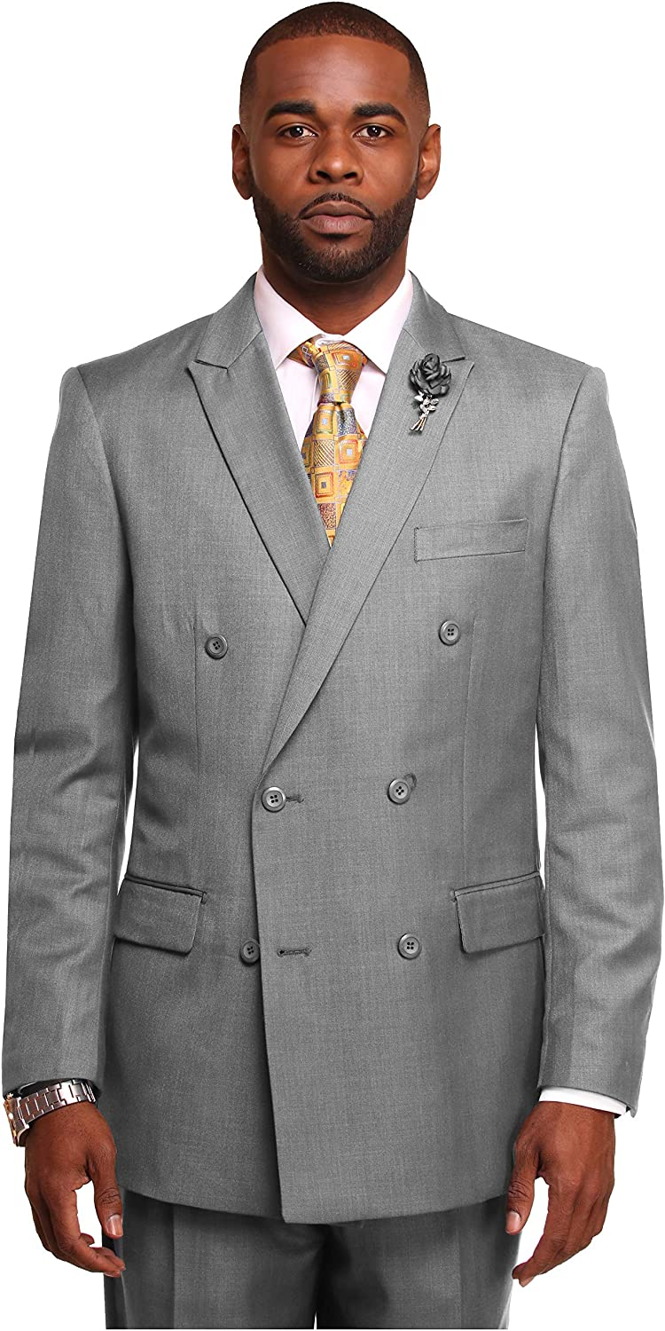 Mens Double Breast Suit, Regular Classic Fit, Double Breasted, 1Pleat Pants
