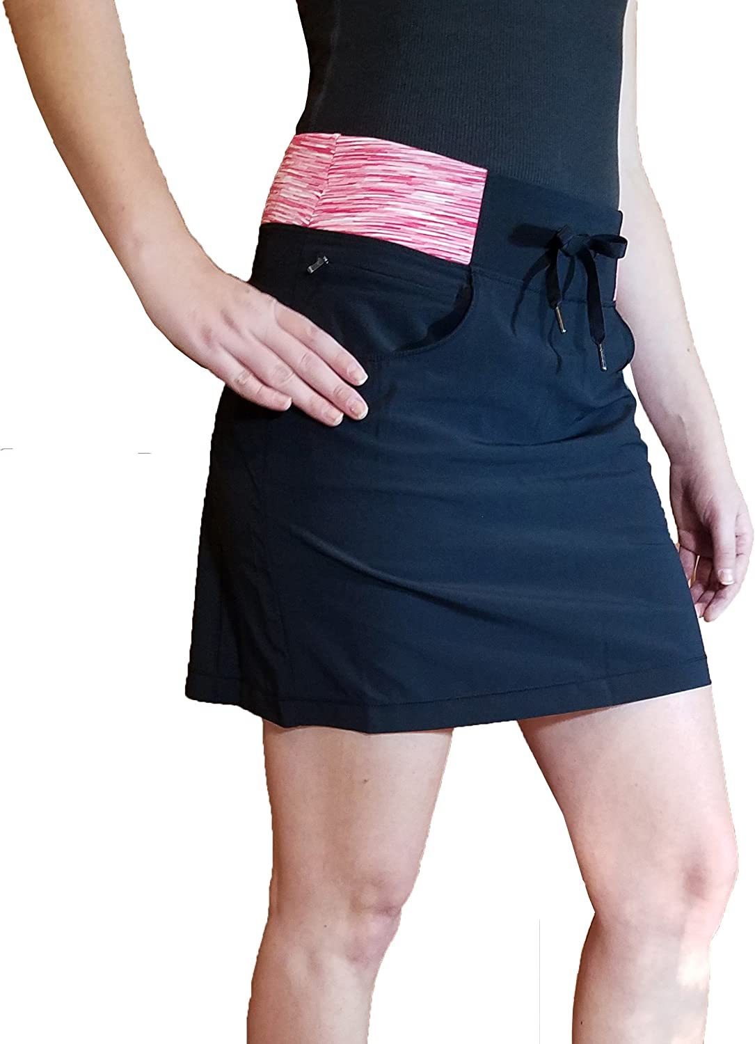 Tuff Women's Athletic Active Yoga Skort (Small, Black   Coral Space Dyed)