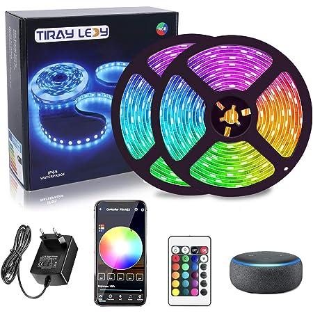 WiFi Tira LED 10M, IP65 Impermeable Luces 300 LEDs compatible Alexa Google home, 16 millones colores, Control por App, Luz led musical para Habitación, casa, cocina, TV, fiesta, para iOS y Android