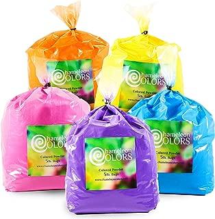 Holi Powder by Chameleon Colors – 5 lb of 5 Colors (25 lbs). Pure, Authentic Fun – Color Races, 5k, Festival. Blue, Pink, Orange, Yellow, Purple.