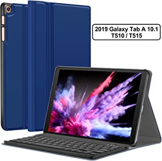 Galaxy Tab A 10.1 2019 Case with Keyboard T510 T515 - Folio PU Leather Stand Case - Magnetically Detachable Wireless Keyboard Case for Samsung Galaxy Tab A 10.1 Inch SM-T510 SM-T515, Blue