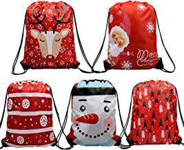 Christmas Gift Bags Drawstring Bags 5 Pack, Santa Sack Backpack for Party Favors Gifts and Candy