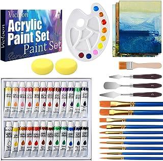 Vicloon 44 Pezz Acrilici Set Pittura, 24×12 ml di Colori Acrilici per Principianti e Professionisti, con Pennelli in Nylon...