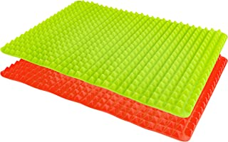 Healthy Homewares Raised Silicone Baking Sheet Non-Stick Cooking Mat Oven Tray Liner, Red and Green, Set of 2