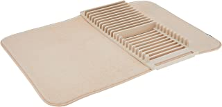Umbra UDRY Dish Drying Rack and Microfiber Dish Mat - Space-Saving Lightweight Design Folds Up For Easy Storage, 24 x 18 inches, Linen