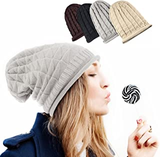 Zodaca Unisex Thick Slouchy Oversized Knitted Beanie Hat Plain Braided Baggy Cap