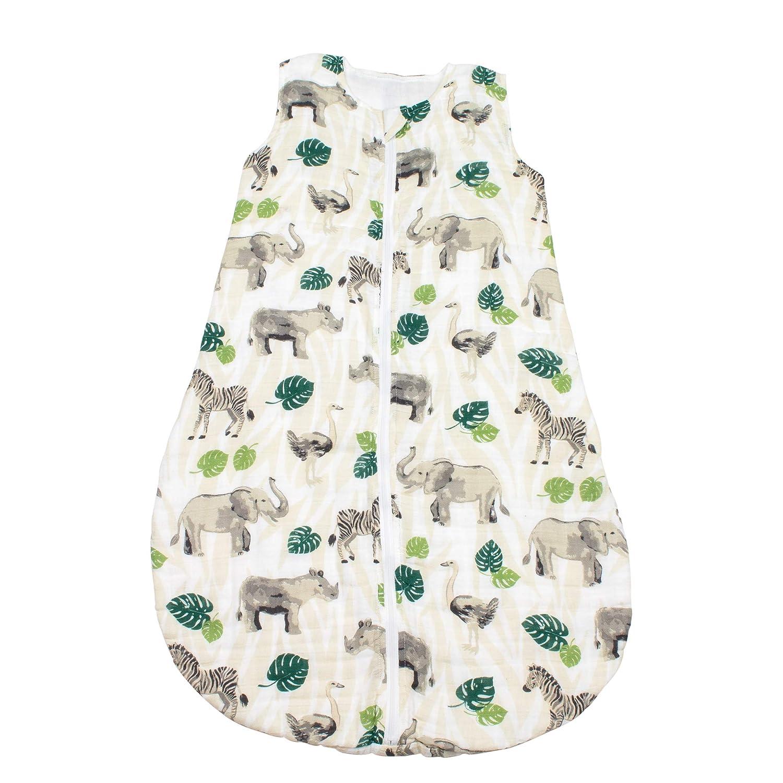 Bebe au Lait Jungle Muslin Sleeper, 12-18 Months, Green, One Size