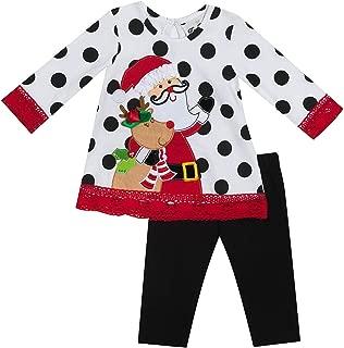 Girls' 2T-6X Long Sleeve Santa Dress and Leggings Set