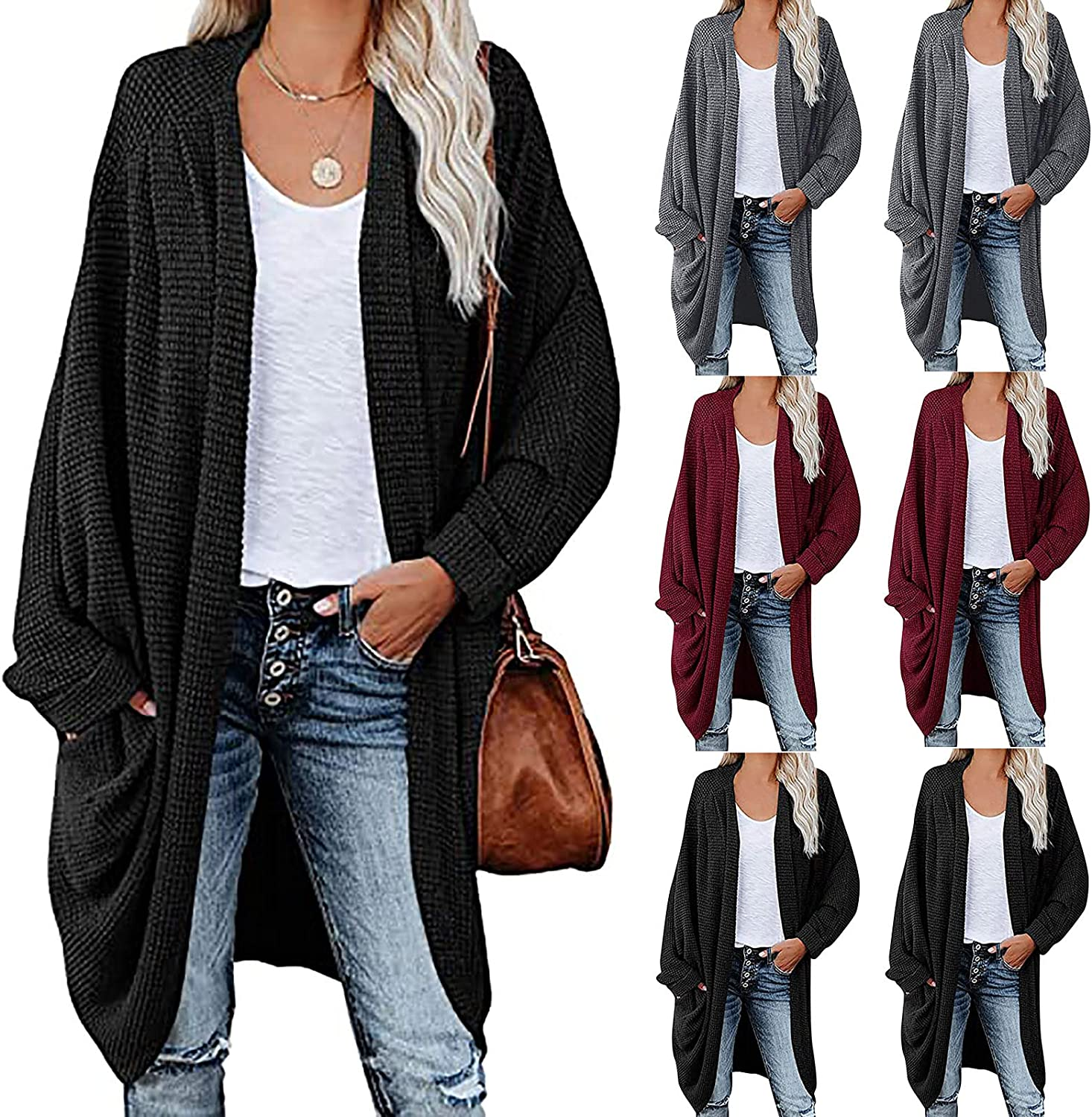 Women's Casual Long Knit Cardigan Autumn Winter Long Sleeve Solid Color Outerwear Tops Ladies Pockets Blouse Coat