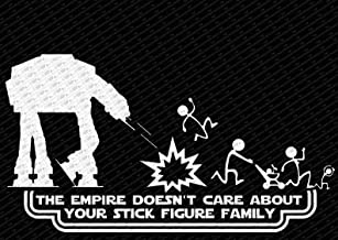 The Empire Doesn't Care About Your Stick Figure Family Star Wars Vinyl Car Decal Sticker