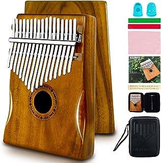 EASTROCK Kalimba Instrument de Musique Adulte, 17 Touches Piano à Pouce, Bois d'acajou Portable Mbira doigt Piano Intégré ...