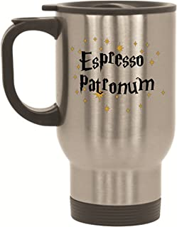BeeGeeTees Espresso Patronum Travel Mug - 14 oz Stainless Steel to Go Cup for Wizards