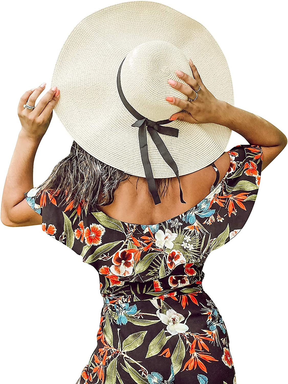 Womens Wide Brim Straw Sun Hat Beach Lady Panama Floppy Foldable Roll up Fedoras Summer UPF50+