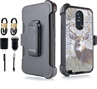 Compatible for LG Stylo 4 Case, LG Stylo 4 Plus Case, LG Q Stylus Case, Holster Belt Clip Phone Case w/Kickstand Built in Screen Protector [ Value Bundle] (Deer)