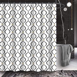 HNB Decorative Geometric Shower Curtain for Bathroom Shower, Stalls, Bathtubs, Wave Line and Dot Bathroom Curtains Set wit...