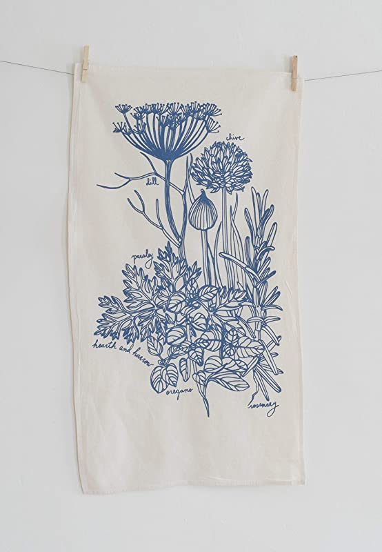 Culinary Herb Tea Towel In Blue Violet Flour Sack Towel Natural Cotton Kitchen Towel Botanical Print Hand Printed Tea Towel