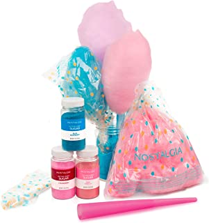 مجموعة حفلات حلوى القطن FSCC8 من نوستالجيا، 3 نكهات، 4 مخاريط قابلة لاعادة الاستخدام، 10 اكياس خيط تنظيف، 1