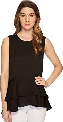 Vince Camuto - Sleeveless Tiered Ruffle Hem Hammer Satin Blouse