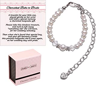 Cherished Babe to Bride Keepsake Bracelet in Sterling Silver and Cultured Pearls for Baby Girl