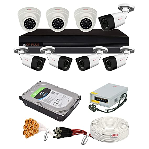 CP Plus 2.4MP, H.265+, 4TB Storage, 8 Camera Combo Kit with (8Ch DVR, 3 Dome 5 Bullet Cameras, 4TB HDD, Power Supply, 90Mtr Cable, Audio Mic and Connectors) 2.4 MegaPixel CCTV Security Camera Set