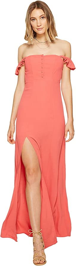 Jessica Simpson Peekaboo High Low Blouson Dress Hot Coral
