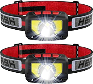 LED Head Torch, USB Headlamp Rechargeable, Super Bright 1000 Lumens COB LED Headlight, 80g, with IPX5 Waterproof for Runni...
