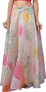 STUDIO Shringaar Women's Beige Organza Floral Printed Fully Stitched Skirt Lehenga