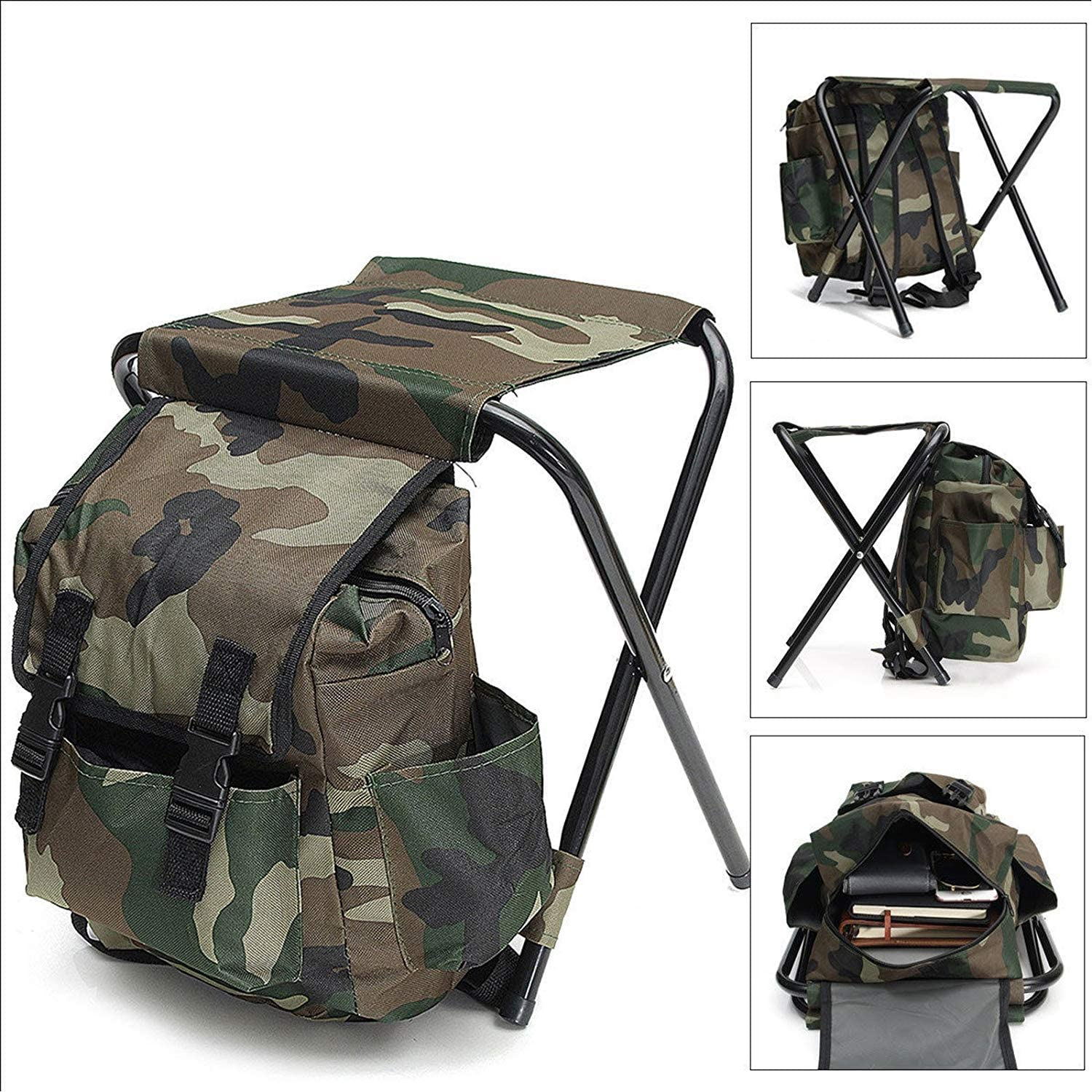 Portable & Folding Camping Chair Stool Backpack, Hiking Camouflage Fishing Backpack Chair, Perfect for Beach BBQ