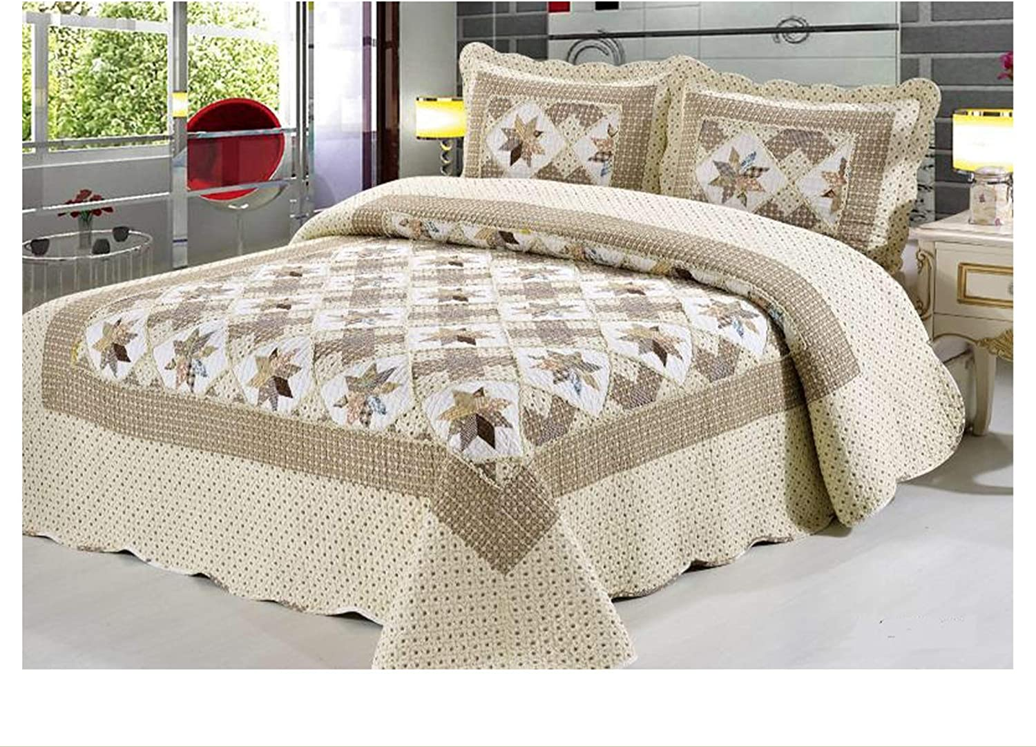Double New 2020 100/% Quilted Bedding Set Patchwork Throw Embossed Vintage 3 PC Set Bedspreads GS 8039, Double King Comforter Throw Set Include 2 Pillow Shams