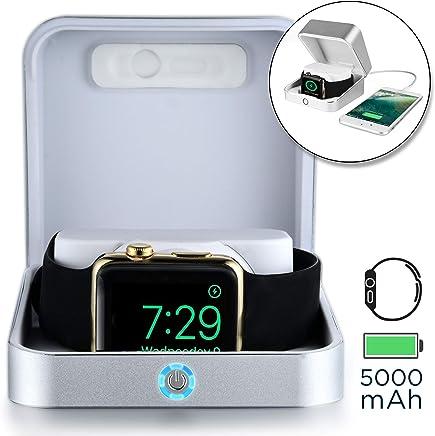 Apple Watch 充電 ケース, [5-in-1 プレミアム ウォッチ ケース, パワーバンク, スタンド] SUMATO WATCHBOX 充電ケーブル 付属, 5000mAh バッテリー + キーホルダー型 ポケット 充電器 500mAh, 38 42mm Series 3 2 1 Nike+ (シルバー)