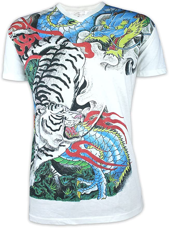 Ako Roshi Camiseta Hombre Tigre Dragón Japón Tatuaje : Amazon ...