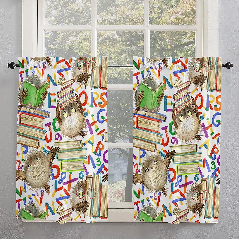 Cute Owl 5 ☆ popular Kitchen Curtains 45 Finally popular brand Inch Book Length Magic Windows for