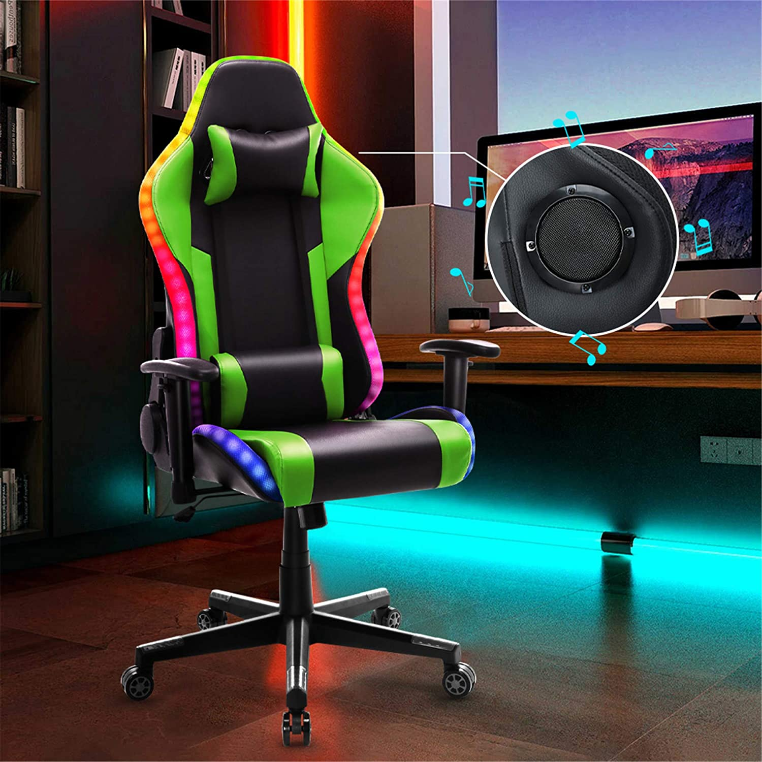Gaming Chair with 大注目 Bluetooth Speakers LED RGB Lights 当店限定販売 Video Music