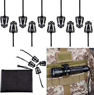 Pack of 10 Tactical Gear Clip Molle Web Dominators for Outdoor Hydration Tube Backpack Straps Management with Zippered Pou...