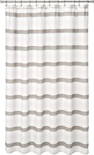 Duck River Ivory and Beige Fabric Shower Curtain Akua Striped, 70in x 72in, Taupe