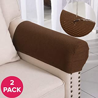 Larvinhom Armrest Covers Anti-Slip Waterproof Furniture Protector Armchair Slipcovers for Recliner Sofa Set of 2(Coffee)