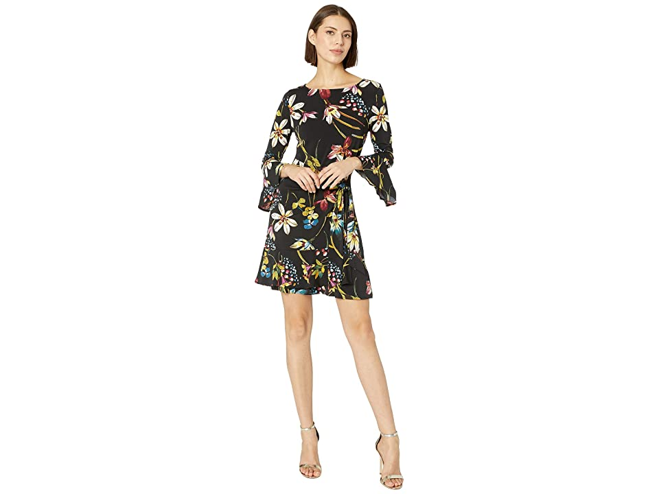 eci 3/4 Sleeve Floral Printed Faux Tie Front Dress (Black/Multi) Women