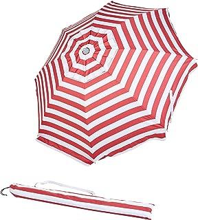 AmazonBasics Beach Umbrella - Red Striped
