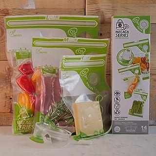 FOSA Reusable Vacuum Food Storage Bags Vacuum Zipper Bag Multi Pack with Adapter, 4 x Small, 4 x Medium, 6 x Large, 14 Pack