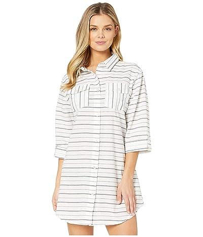 DOTTI Radiance Stripe Shirtdress Cover-Up (Navy) Women