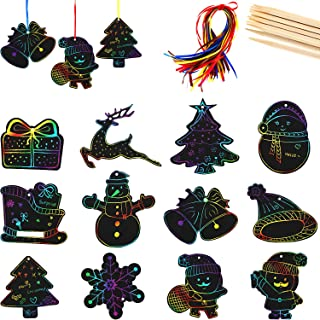 48 Pieces Magic Christmas Scratch Ornaments Magic Color Scratch Papers with 10 Pieces Bamboo Sticks and 48 Pieces Ribbons