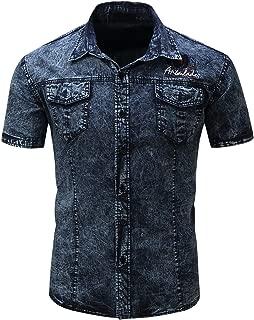 chouyatou Men's Summer Short Sleeve Rugged Wear Chambray Cotton Denim Work Shirts