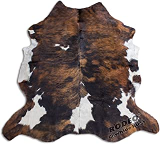 RODEO Amazing Cowhide Rug Hair on Skin cowhides Tricolor Brown Large Size