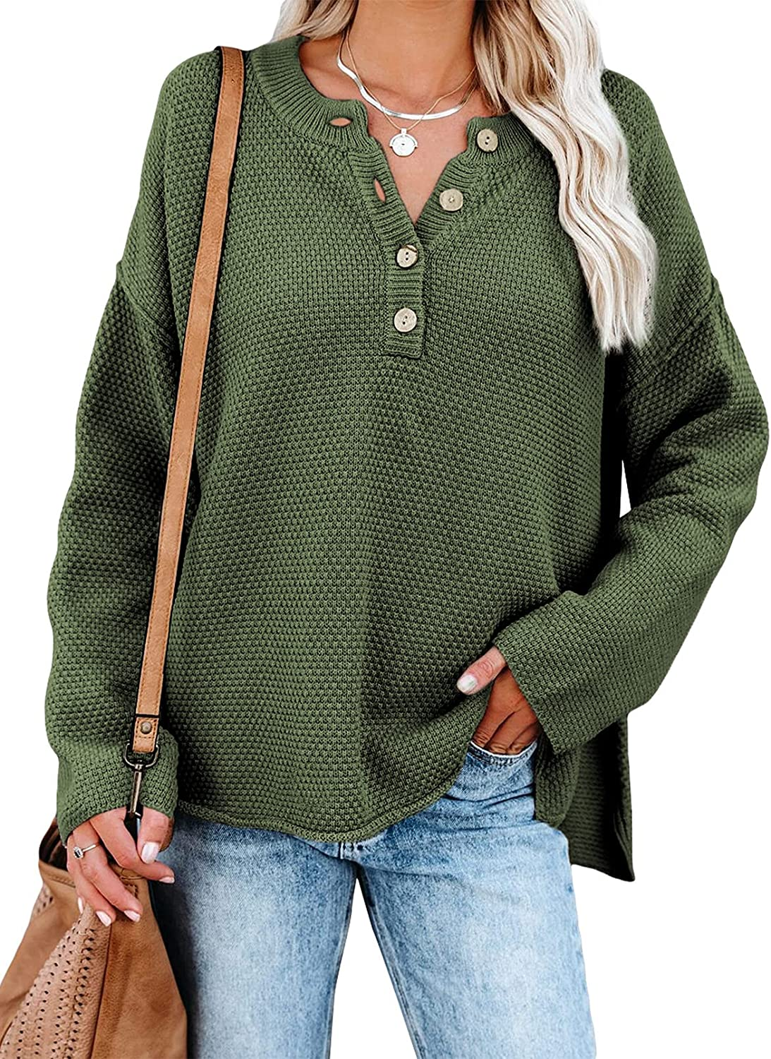 HOTAPEI Women's V Neck Ribbed Button Knit Henley Tops Casual Long Sleeve Pullover Sweater Blouses