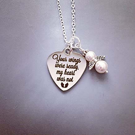 Memorial Necklace Your wings were ready, my heart was not with Pearl Angel Engraved, Etched Jewelry, Personalized Memorial Jewelry