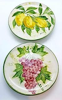 n.2 Piatti da muro Linea Limoni e Uva Ceramica Handmade Le Ceramiche del Castello Nina Palomba 100% Made in Italy Dimensio...