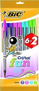 BIC Cristal Fun bolígrafos Punta Ancha (1,6 mm) – colores Surtidos, Blíster de 6+2