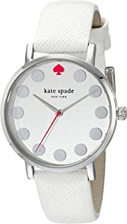 kate spade new york Women's 1YRU0733 Metro Dot Stainless Steel Watch with Textured-Leather Band