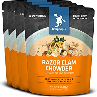 Fishpeople Razor Clam Chowder Garnished with Uncured Bacon, 10 ounce (4 pack),..